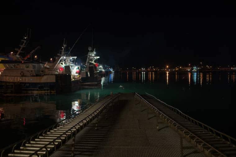 Vue du port la nuit.