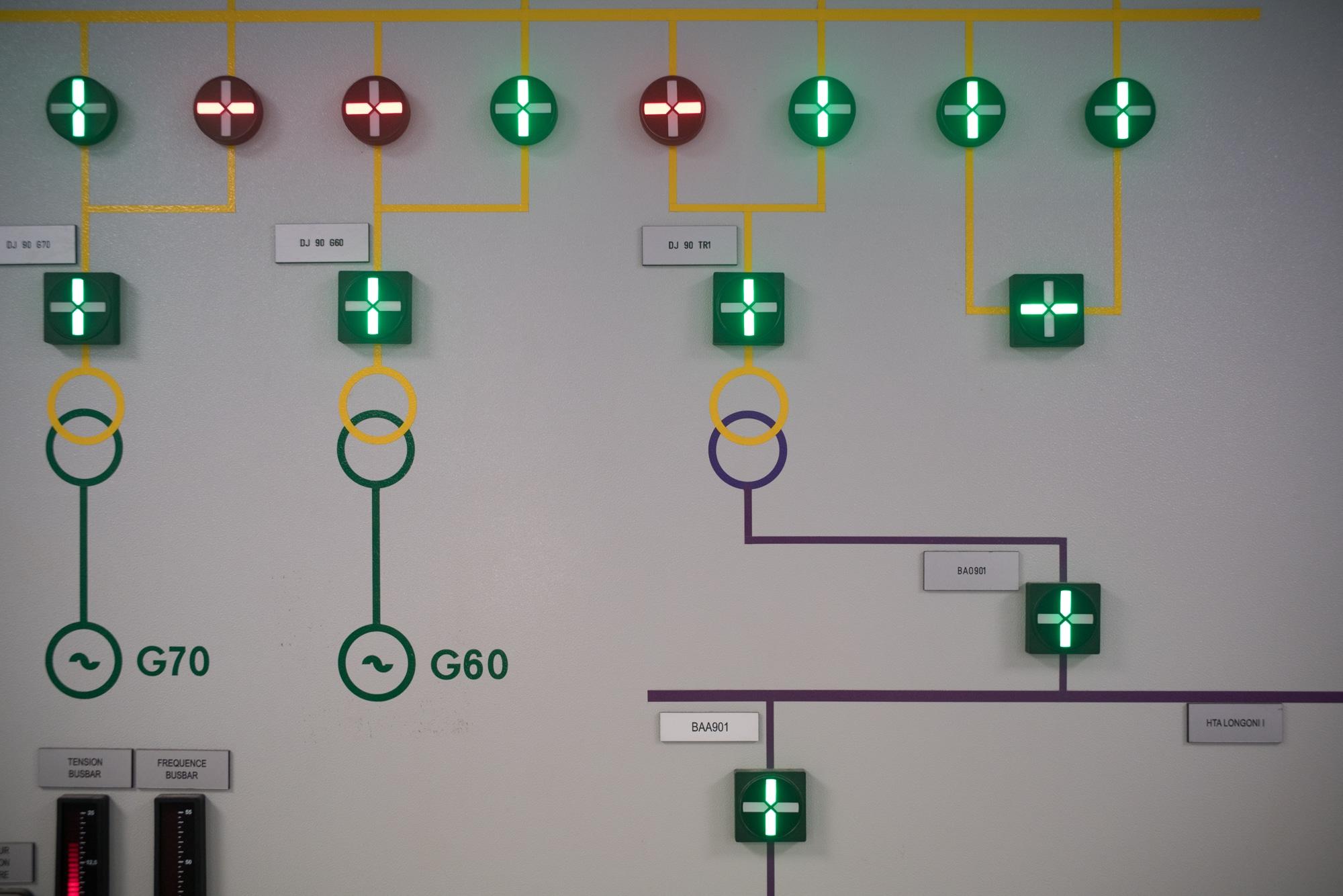 Zoom sur le panneau situé dans le bureau de Soihibou, constitué de voyants lumineux et de schémas de circuits électriques.