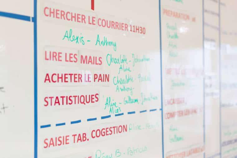 """Le tableau des tâches, complété au feutre. On peut y lire """"acheter le pain"""", """"chercher le courrier 11h30"""", """"lire les mails"""" et """"statistiques"""". Devant chaque tâche sont écrits plusieurs noms."""